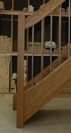 Oak stair with the european style handrail