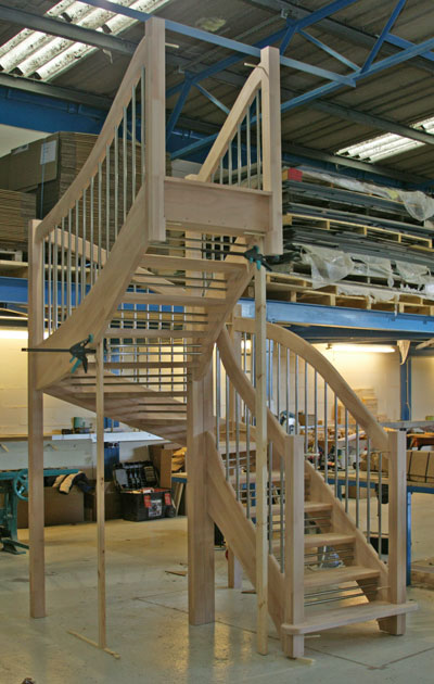 Beech open double winder staircase