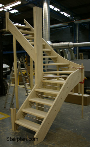open staircase with safety bars