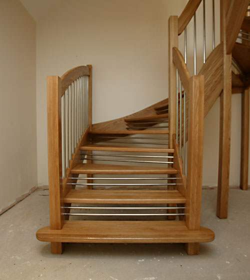 Oak Staircase Open Plan European Style Handrail